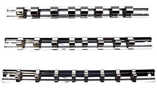 3 x Aufsteckschiene/Klemmleiste/Nusshalter/Aufsteckleiste/Ordnungssystem mit 24 verschiebbare Clips für 1/2