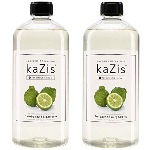 KAZIS Duft-Set Bergamotte I Passend für alle katalytischen Lampen I 2 x1 Liter I Nachfüll-Öl I 2 x 1000 ml I 2 x 1 Liter