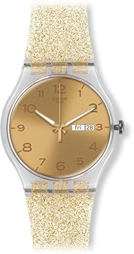Swatch Damen Digital Quarz Uhr mit Silikon Armband SUOK704