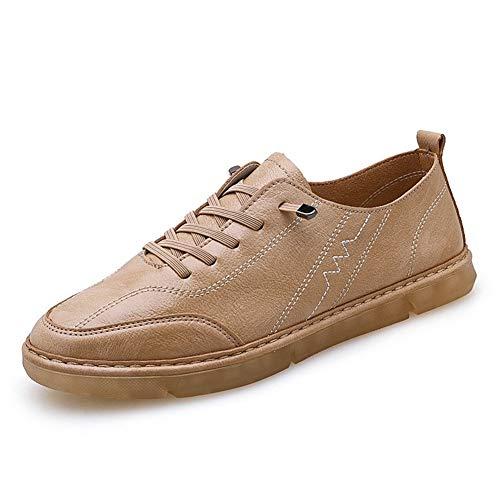 XIANGBAO Bequeme Outdoor-Schuhe Fashion Sneaker Für Männer Sportschuhe Schnürstyle Mikrofaser Leder Leicht Flexibel Weich Handwerk Vegan Captoe Pflegeleicht (Color : Light tan, Größe : 40 EU)