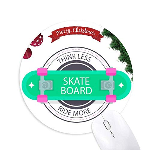 Winter Sport Skateboard Cartoon Pattern Round Rubber Maus Pad Weihnachtsbaum Mat