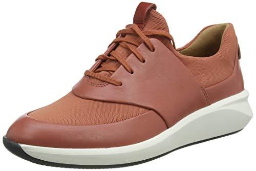 Clarks Un Rio Lace, Zapatillas Mujer, Brick Red Lthr Textile Combi, 37 EU