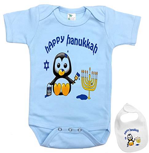 Igloo Happy Hanukkah -Cute Jewish Holiday Baby Bodysuit Onesie & bib Outfit (5 Colors) Blue