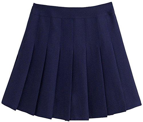 chouyatou Women's Simple High Waist All Around Pleated A-Line Skirt (Medium, Navy)