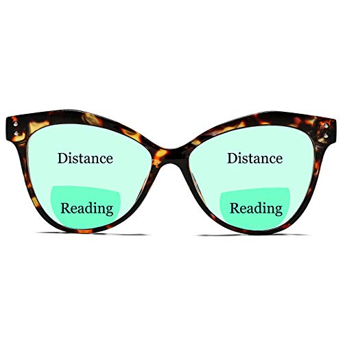 Cat Eye Bifocal Blue Light Blocking Glasses with Magnification - COASION Magnifying Computer Reading Glasses for Women Men (Tortoise / x 1.5)