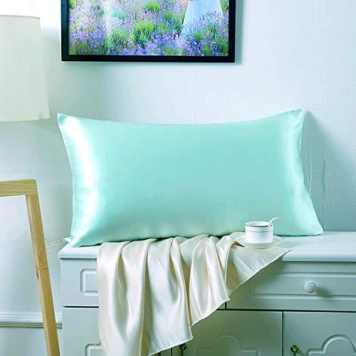 Juwenin Home Funda de almohada de satén sedoso para el cabello y la piel facial para evitar arrugas, cremallera oculta (azul aguamarina, estándar (50 x 75 cm) 1 unidad)