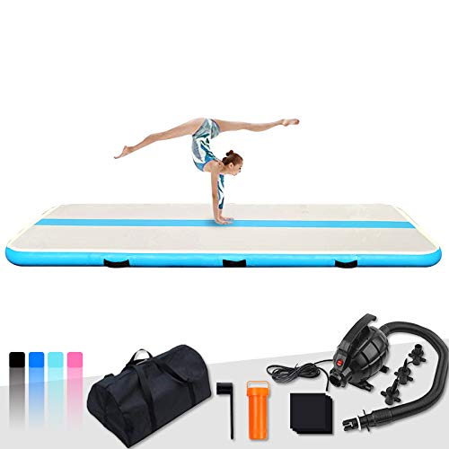 FunWater10ft/13ft/20ftInflatableGymnasticsAir Tumble TrackTumblingMat4in/6inThickAirFloorTumbleTrackwithElectricAirPumpforCheer Leading/Gymnastics/Beach/Gym/Home