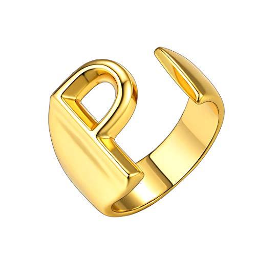 GoldChic Anillos Letras P para Hombres Talla Ajustable Argolla Oro con Iniciales de Nombre