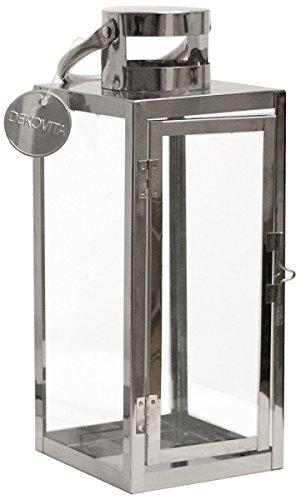 Dekovita Gartenlaterne 30cm Edelstahl-Laterne mit rundem Henkel Deko Kerzenhalter Windlicht hitzebeständiges Temperglas