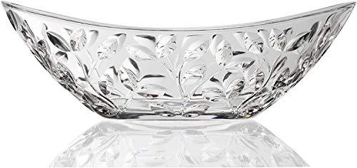 Elegant Crystal Serving Oval Bowl with Beautiful leaf design, Centerpiece For Home,Office,Wedding Decor, Fruit, Snack, Dessert, Server