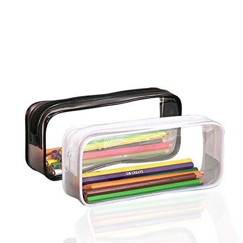 2 estuches transparentes TOYESS, estuches ligeros de PVC transparente para lápices y artículos de maquillaje y cosmética