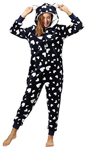 Orshoy Damen Jumpsuit Teddy Fleece Einteiler Overall Anzug Flauschig Schlafanzug Overall Loungwear Navy-Weiß XL