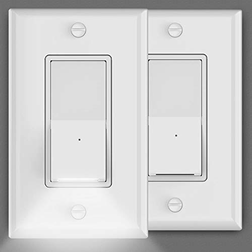 2 Pack Illuminated Light Switch,Automatic On/Off GuideLight for Wall Switch,15 Amp,120/277V,Decora Paddle Rocker Single-Pole AC Quiet Switch with Dusk to Dawn Sensor LED Night Light,Smooth White