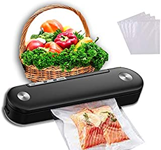 Vacuum Sealer Machine – Food Sealers Vacuum Packaging Machine with 10 Included Vacuum Sealing Bags – High Speed Strong Suc...