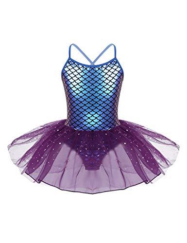 Aislor Vestito da Danza Moderna Bambina Tutu da Ginnastica Artistica Body da Ballo Classico Senza Manica Bambine Abito Elegante da Balleto Ballet Latino Dancewear Viola 8 Anni