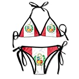 Bikini para Mujer Set Flag of Peru Summer Traje de Baño de Dos Piezas con Trajes de Baño de Cabestro con Vendaje