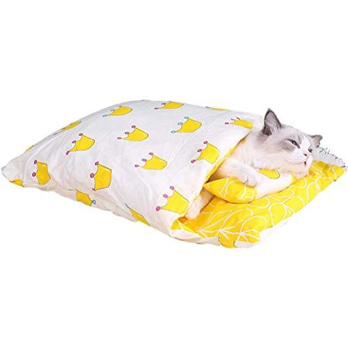Amiispe Saco de Dormir para Gatos Cama para Gatos Invierno Cerrado Cueva para Gatos extraíble Bolsa de Peluche cálida para Gatos y Cachorros, Adecuada para Amantes de los Gatos