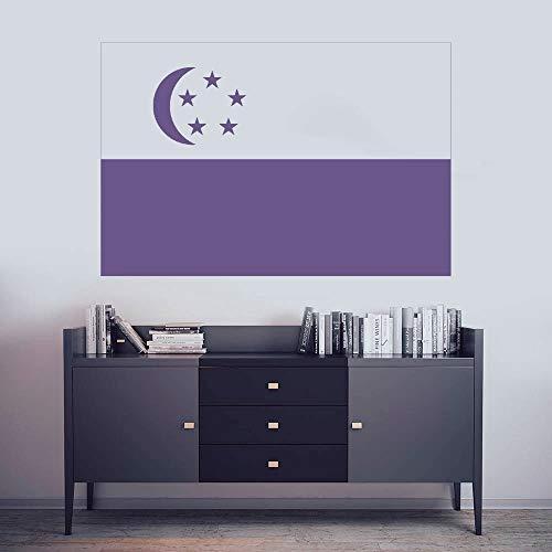 YuanMinglu Singapur Nationalflagge Zeichen Aufkleber Schlafzimmer nach Hause Wanddekoration Kunst Wandaufkleber Aufkleber 74x48cm