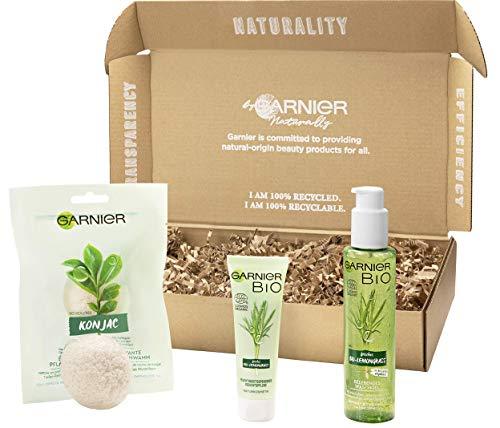 Garnier Bio umweltfreundliche Geschenkbox, reinigendes Gesichtspflege Set, Naturkosmetik mit Aloe Vera und Lemongrass