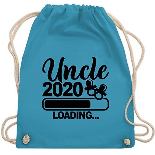 Shirtracer Bruder & Onkel - Uncle 2020 loading mit Schnullern - schwarz - Unisize - Hellblau WM110 - Turnbeutel und Stoffbeutel aus Baumwolle