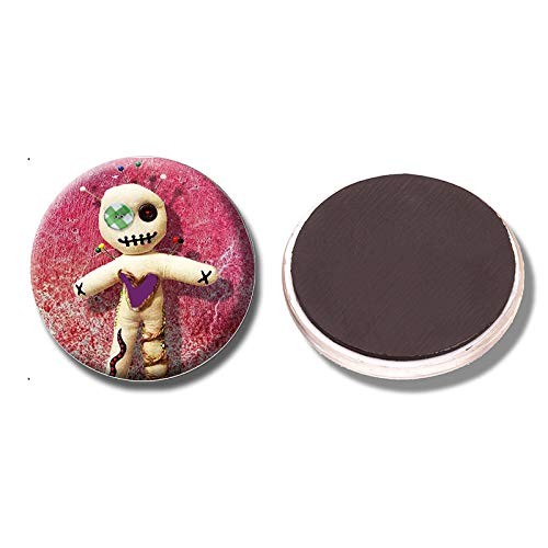 shenlanyu Imanes de nevera 3 piezas Vudú muñeca magnética pegatinas para nevera encantadora muñeca rosa imán refrigerador 30 mm cristal cabujón lindo decoración de nevera