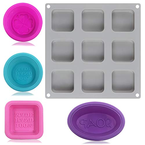 FineGood Silikon-Seifenform mit 9 Mulden, 4 einzelne Seifenformen, zum Selbermachen von Kuchen, Schokolade, Eiswürfelform – Grau, Lila, Rosa, Blau, Rose