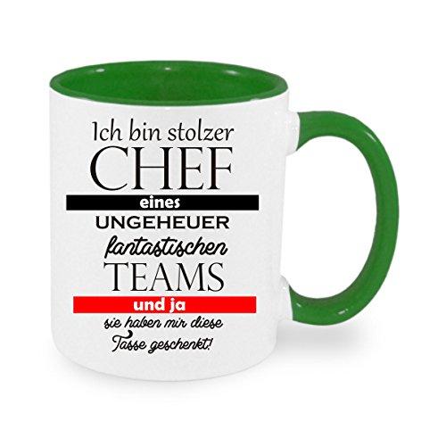 Ich Bin stolzer Chef eines ungeheuer fantastischen Teams und ja sie haben Mir Diese Tasse geschenkt - Kaffeetasse mit Motiv, Bedruckte Tasse mit Sprüchen oder Bildern (grün)