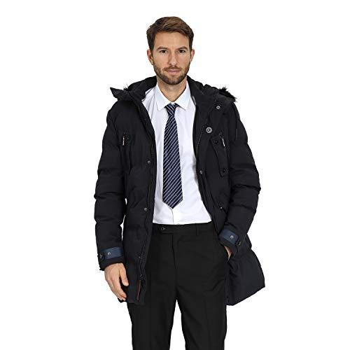 WEEN CHARM Men's Warm Parka Jacket Anorak Jacket Winter Coat with Detachable Hood Faux-Fur Trim (Navy Blue-8823, M)
