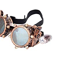 ZAIQUN Retro Goggles Vintage Steampunk Glasses Rave Crystal Lenses for Cosplay Halloween #3