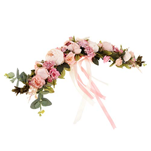 SunniMix Hochwertige Simulationsseide Pfingstrosen Blumen Tür Kranz Ordnungs Girlanden Hochzeitsfest Blumen Anordnung - Rosa