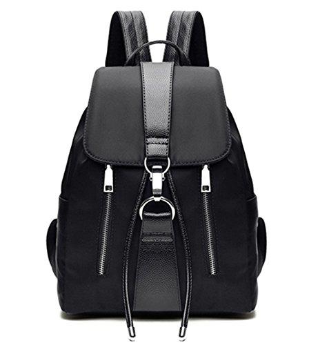 TIBES Daypack Rucksack Damen Studententasche Tasche Schultaschen Satchel Bag Rucksäcke für Damen, Medium, D Schwarz