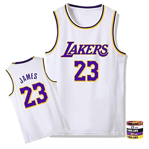 OLJB Lébron Jámes Unisex Basketball Jersey Láker # 24, Transpirable Secado rápido Baloncesto Sweatshirt Sweatshirt Swingman Jersey, propicio al Deporte de la Fiesta de Hi White-XL