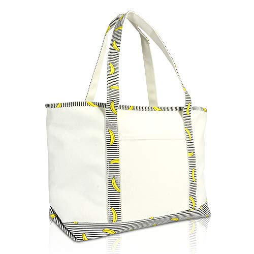 DALIX 23' Premium 24 oz. Cotton Canvas Shopping Tote Striped Banana