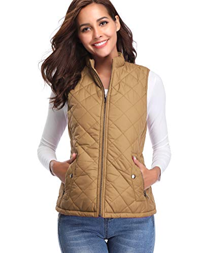 fuinloth Women's Padded Vest, Stand Collar Lightweight Zip Quilted Gilet Camel S
