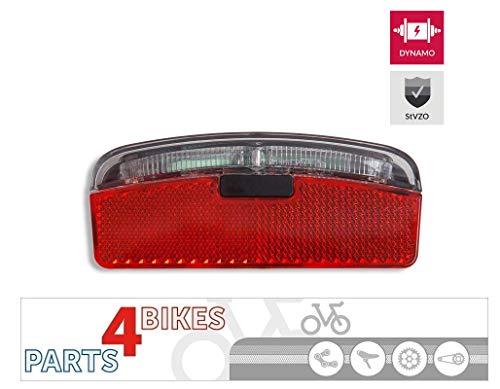 P4B Led-achterlicht voor Dynamo met parkeerlicht StVZO-goedkeuring en Z-reflector | voor montage op bagagedrager, (80 mm schroefafstand)