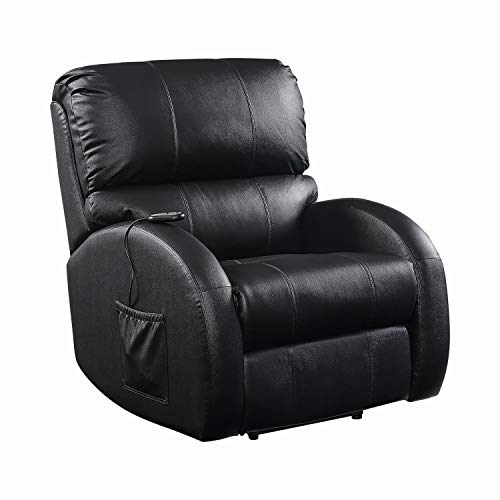 Hot Sale Coaster Showtime Collection Black Leather Motion Home Theater Sofa Couch Chair