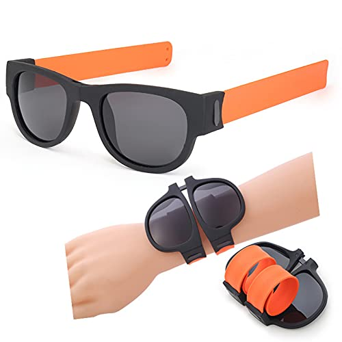 zhgzhzwlf Gafas De Sol Deportivas Plegables Gafas De Sol Polarizadas Prácticas Gafas De Conducción Gafas De Pulsera Gafas De Sol para Adultos Y Niños Adecuado para Cualquier Forma De Cara,Naranja