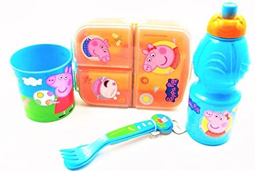 ( peppa pig ) contenedor de comida juego completo para comer caja de almuerzo cena desayuno bolsa de viaje cuchillo botella taza caja