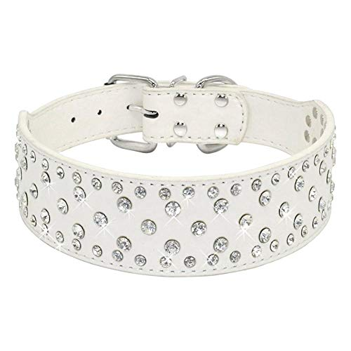Gulunmun Collares Básicos Top Sparkly Rhinestone Dog Collar -Soft PU Leather - Fit For Medium Large Golden Terrier Pit Bull @White_XS