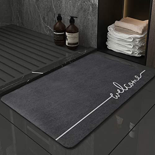 Alfombrilla antideslizante de terciopelo suave de piel de ciervo, resistente y absorbente, lavable a máquina, apta para dormitorio, baño, sala de estar (50 x 80 cm)