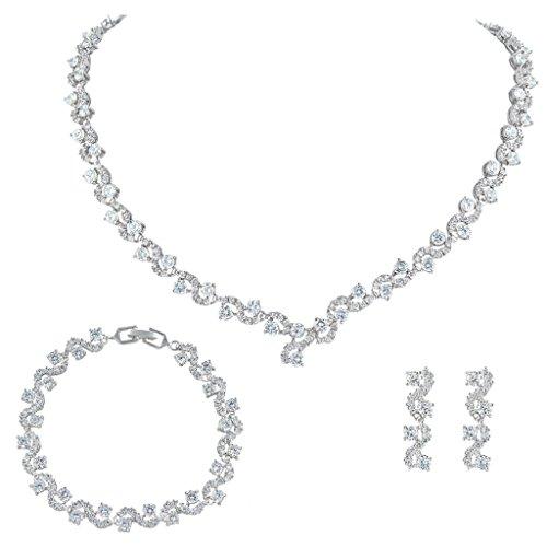 EVER FAITH® Zirkonia Kristall elegant Braut Modeschmuck Schmuck-Sets Silber-Ton N03406-1