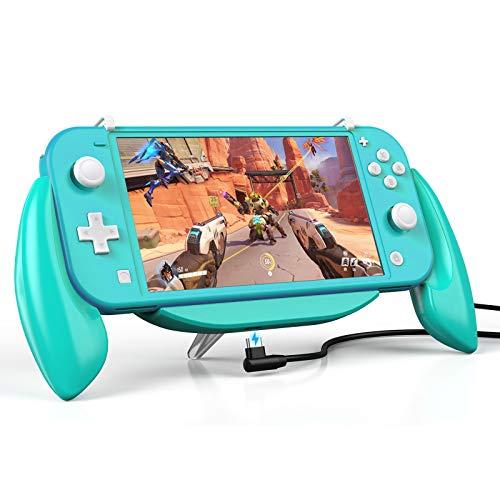 Vivefox Nintendo Switch Lite Grip Case, Switch Lite Handles Ergonomic Comfort Shockproof Charging Grip Case Support Quick USB Charging Protective Case Kit Fits Nintendo Switch Lite 2019 Turquoise