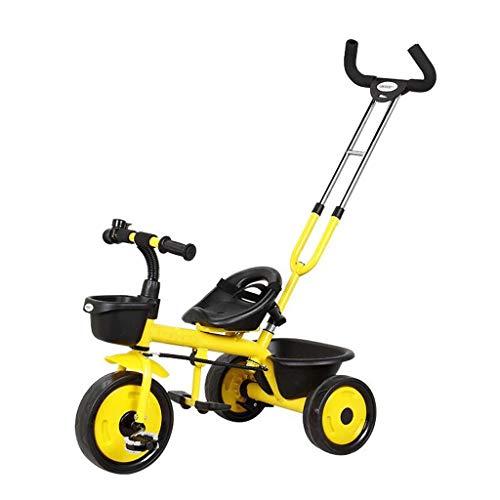 HJJ Baby-Spaziergänger/Kinder Dreirad Fahrrad 2-3-5 Jahre altes Kind Kinderwagen Baby-Draisine Mountainbike-Rad/Kindersicherheitssitz (Color : Yellow)