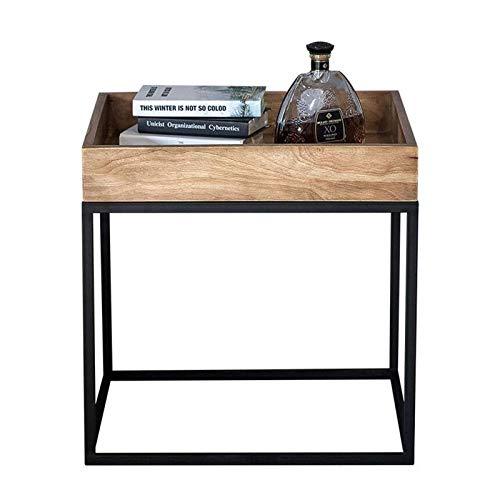 Mesa de cama, Tische Loft Industrietic American End Table, Wohnzimmer Sofa Beistelltisch, Holzpalette und Metallrahmenstütze Couchtisch Farbe: Holz, Größe: 19.6819.6821.65in
