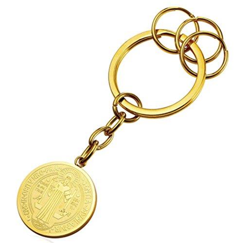 MESE London Saint Benedict Schlüsselanhänger 18 Karat Vergoldet Christian Munze Keyring 'The Protector Geschenkbox