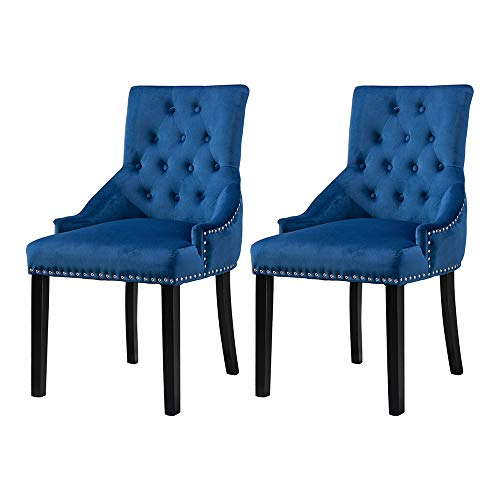 BOJU Set of 2 Modern Blue Tufted Dining Chairs with Arms Studded Ring Comfy Velvet Fabric Upholstered Kitchen Chairs with Armrest for Accent Restaurant Bedroom Living Room Side Chairs