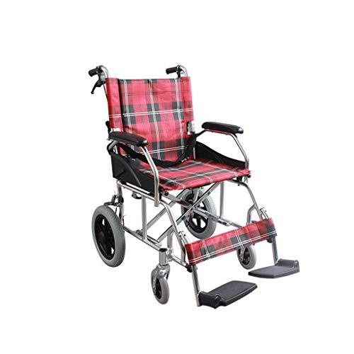 L-Y Multifunctionele Aluminium Lichtgewicht Vouwen Handleiding voor gehandicapten Scooter Rolstoel Rolstoel, rood, a
