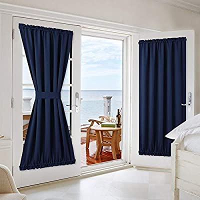 NICETOWN French Door Curtain Drapes - Solid Thermal Insulated Blackout French Door Window Treatment Curtain Panel Drapes for Kitchen, Navy, 1 Panel, 54W x 72L inches