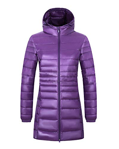 Damen Süßigkeitsfarbe glänzend Gesteppt Down Parka Jacke Ultra Leichtgewicht Winterjacke Packbar Lang Daunenjacke Steppjacke Übergangsjacke Lila Kapuze XL
