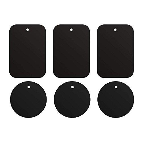ivoler 6 piezas láminas Metálicas, Muy Finas Reemplazo de Placas de Metal con 3M Adhesivo para Soporte Movil Coche Magnético/Soporte iman movil Coche - 3 Redondas y 3 rectangulares,Negro